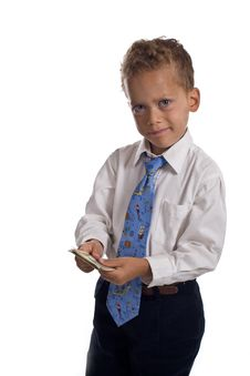 Free Young Boy Dressed As Businessman Holds Money Royalty Free Stock Photography - 5469497
