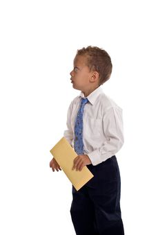 Free Young Boy Dressed As Businessman Holds Envelope Royalty Free Stock Photo - 5469515