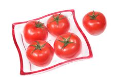 Free Tomatoes On A Glass Plate. Royalty Free Stock Images - 5469519