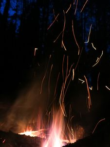 Free Sparks Night Fire Stock Photos - 54664753