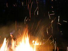 Sparks Night Fire Stock Photos