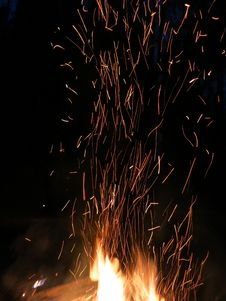 Sparks Night Fire Royalty Free Stock Images