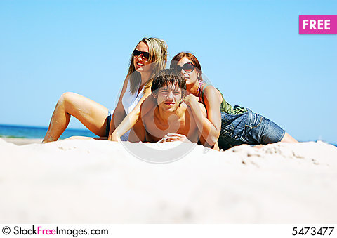 Free Young Friends On The Summer Beach Royalty Free Stock Photography - 5473477
