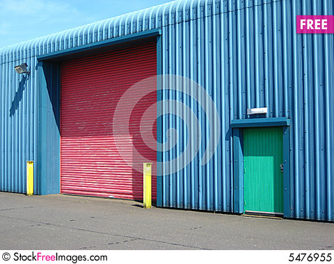 Factory with colourful doors and posts & Factory With Colourful Doors And Posts - Free Stock Images \u0026 Photos ...