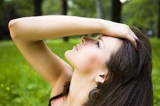Free Beautiful Young Woman On Nature Background Royalty Free Stock Photos - 5470668