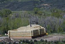 Building New Log House Stock Images