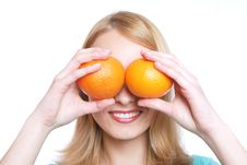 Free The Girl With Oranges Stock Photography - 5472982