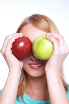 Free The Girl With Two Apples Stock Photos - 5473193