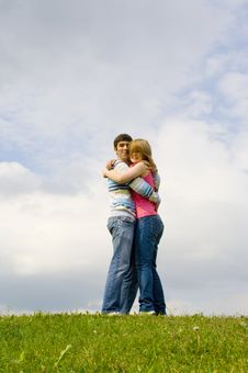 Free Young Happy Couple Standing On A Green Grass Royalty Free Stock Image - 5473426