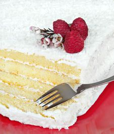 Coconut Cake With Raspberries Royalty Free Stock Images