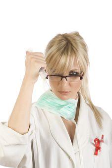 Female Blonde Nurse With Syringe Royalty Free Stock Image