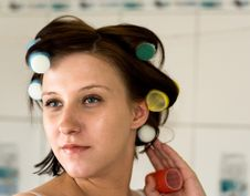 Rollers On Head Royalty Free Stock Photo