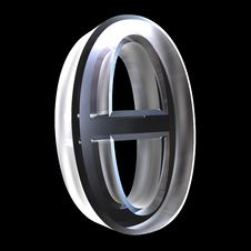 Free 3D Theta Symbol In Glass Stock Images - 5476044