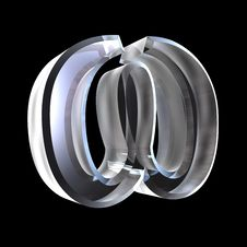 Free Omega Symbol In Glass X (3d) Royalty Free Stock Photography - 5476147