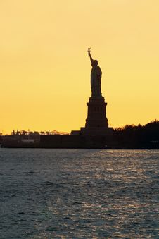 Free Statue Of Liberty At Sunset Royalty Free Stock Photo - 5476795