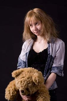 Free Blonde Girl With Teddy Bear Royalty Free Stock Images - 5477789