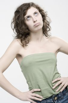 Free Portriat Of A Bored Young Woman Stock Images - 5478254