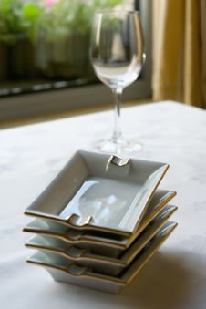 Free Ashtrays And Glass At Restaurant Royalty Free Stock Image - 5478736