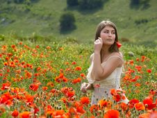 Free Girl With Poppy Stock Images - 5478754