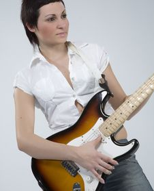 Free Guitar Rocker Girl Royalty Free Stock Photography - 5479137