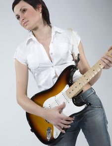 Free Guitar Rocker Girl Royalty Free Stock Images - 5479139