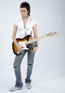 Free Guitar Rocker Girl Royalty Free Stock Images - 5479159