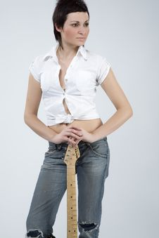 Free Guitar Rocker Girl Stock Photo - 5479170
