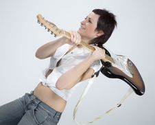 Free Guitar Rocker Girl Stock Image - 5479211