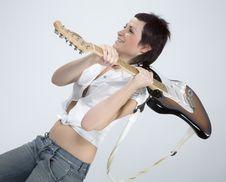 Free Guitar Rocker Girl Stock Image - 5479211