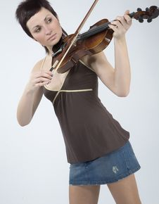 Free Women With Violin Stock Image - 5479311