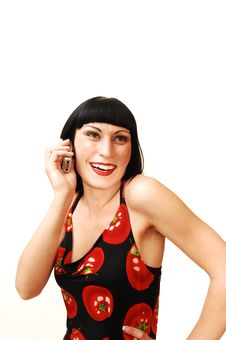 Free Standing Woman On The Cell Phone. Stock Photography - 5479382
