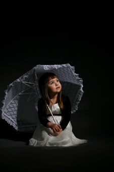 Free Little Girl With Parasol Stock Photo - 5479920