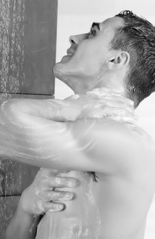 Man In A Shower Royalty Free Stock Photo