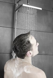 Man In A Shower Stock Images
