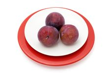 Free Plums On A Plate Isolated With Two Paths Stock Photos - 5482533