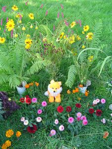 Free Toy Young Fox On A Flower Glade Royalty Free Stock Image - 5482826