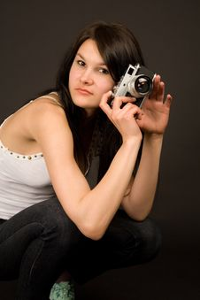 Free Attractive Fashion Girl With Camera Stock Photography - 5484002