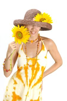 Free Happy Woman With Sunflower Royalty Free Stock Images - 5484619
