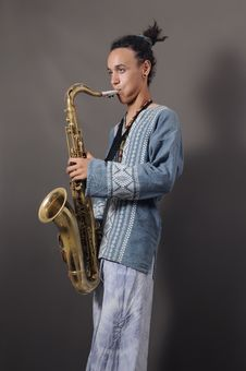 Free Young Saxophone Player Stock Image - 5485121