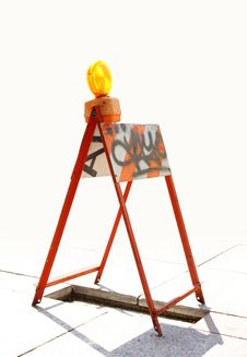 Free Orange Reflector On A Barricade Royalty Free Stock Photos - 5485218
