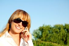 Beautiful Young Woman Speaking The Phone Stock Images