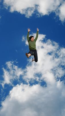Free Woman Jumping High In The Sky Royalty Free Stock Photography - 5486257