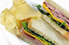 Ham And Cheese Sandwich With Chips Royalty Free Stock Photo
