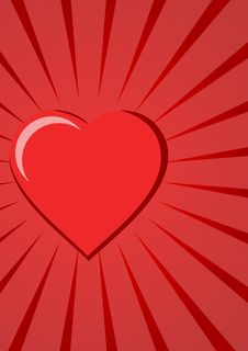 Free Red Heart On Red Background Royalty Free Stock Photography - 5486757