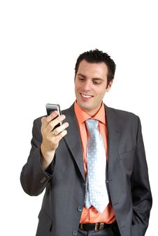 Free Man Smiling With Telephone Stock Image - 5487261