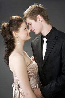 Portrait Of A Young Beautiful Couple Embracing. Royalty Free Stock Image