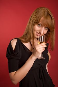 Free Beautiful Girl With Champagne Glass Stock Photography - 5487322