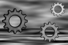 Free Psychedelic 3D BW Gears Royalty Free Stock Photo - 5488285