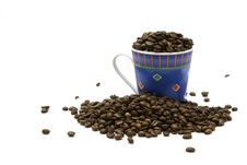 Free Blue Cup And Coffee Beans Stock Images - 5489154