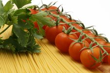 Free Chery Tomato And Parsly With Uncooked Pasta Royalty Free Stock Photo - 5489235